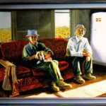 Clarence and Clayton 1983 Oil on linen 75x100cm