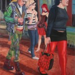 Three Women and a Mannequin 2005 Oil on board 41x31cm